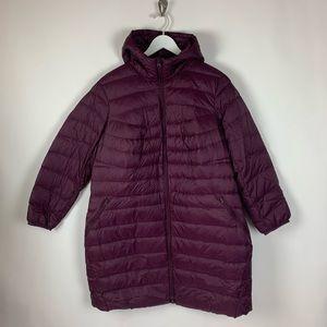 Lands End Women's Light Weight Puffer Hooded Coat